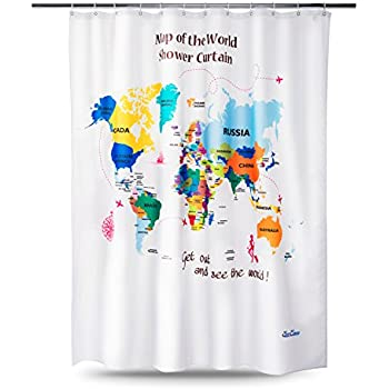 Worksheet. Amazoncom NEW Map of the World Shower Curtain with Detailed