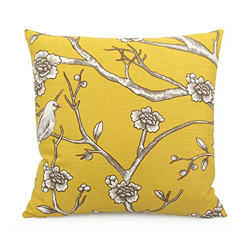 Chloe & Olive Autumn Light Collection Geometric Floral Bird Decorative Pillow Cover, 20-Inch, Yellow