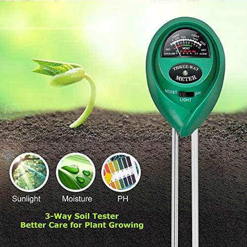 Lailieu Soil Test Kit 3-in-1 Soil Tester with Moisture,Light and PH Meter, Indoor/Outdoor Plants Care Soil Sensor for Home and Garden, Farm, Herbs & Gardening Tools(No Battery - Moisture Soil Measure