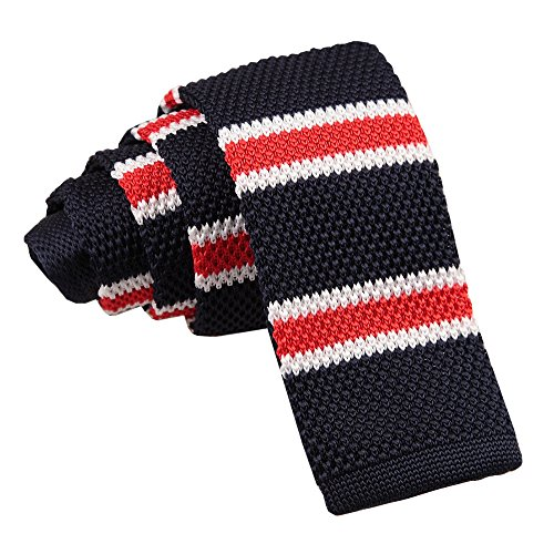 Knit Skinny Knitted Stripe White Men 2 with With Thin Red DQT Tie Navy amp; Borders TBq4p5w5