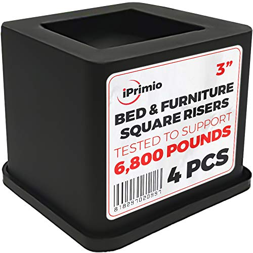 (iPrimio Bed and Furniture Square Risers - 4 Pack 3 INCH Size - Wont Crack & Scratch Floors - Heavy Duty Rubber Bottom - Patent Pending - Great for Wood and Carpet Surface)