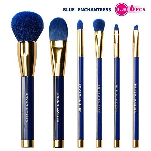 Brush Master 6 pieces Premium Cosmetic Makeup Brush Set Synthetic Kabuki Makeup Foundation Eye Smudge Eyeshadow Eyebrow Lip Powder Blush Brushes for Liquid Cream Concealer Brush Set with Blue
