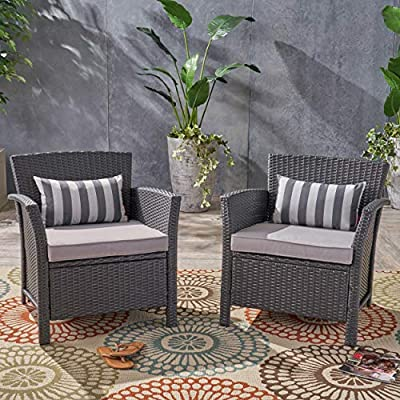 Christopher Knight Home 305347 Louisa Outdoor Wicker Club Chairs (Set of 2), Gray and Silver - When you're relaxing on your patio you deserve to feel like a king. This pair of outdoor chairs will instantly become family favorites, with everybody bickering over who gets to sit in one of the thrones. More than simple club chairs, these pieces are sumptuously cushioned; you'll find yourself lost for hours in their pillow depths Includes: Two (2) Club Chairs. Material: Polyethylene Wicker Frame Material: Steel. Cushion Material: Water Resistant Fabric. Fabric Composition: 100% Polyester. Wicker Finish: Gray - patio-furniture, patio-chairs, patio - 51%2BMFQQ0k4L. SS400  -