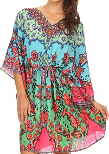 Sakkas KF5046A - CaftanWaistString Zander Adjustable Waist Cover/Up Dress With V-Neck Wide Sleeves - Red/Bright Green - OS