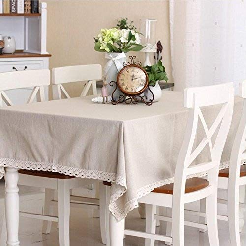 CJ Fashion Simple Gray Linen Lace Tablecloths 55x70 For Rectangle Table ()