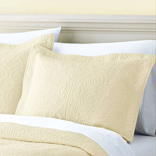 (EONSHINE Luxury Embroidery Style Quilted Washable 100% Cotton Pillow Case, Standard Pillow Cover for Hotel School Use, Solid Color, Pack of 1 (Beige))