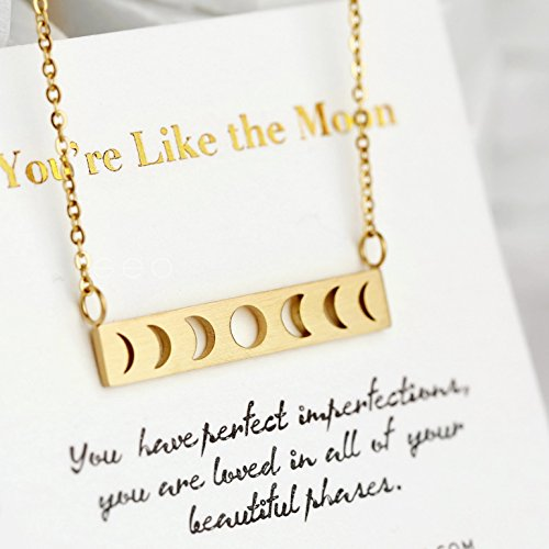 Gold Moon Phase Necklace Moon Necklace Bar Necklaces For Women Moon Pendant Necklace Moon Jewelry Birthday Gifts For (Gold Nameplate Pendant)