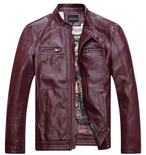 chouyatou Men's Vintage Stand Collar Pu Leather Jacket (X-Large, 96Red)