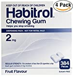 Habitrol Nicotine Gum 2mg Fruit Flavor. 4 bulk packs of 384 (total 1536 pieces)