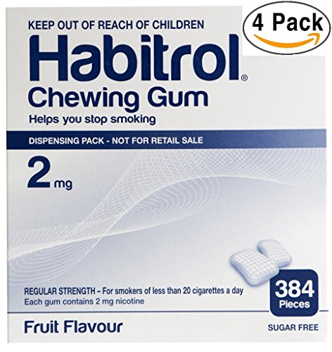 Habitrol Nicotine Gum 2mg Fruit Flavor. 4 bulk packs of 384 (total 1536 pieces) by Habitrol