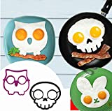 : 3 Pcs/set Cute Owl Rabbit Cat Dinosaur Frog Shaped Silicone Fried Egg Mold Pancake Rings Cooking Tools Egg Omelette Mould