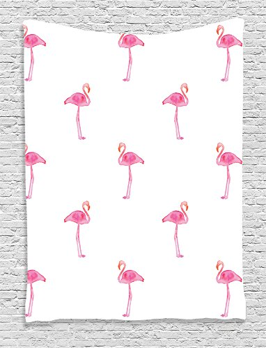 Ambesonne Flamingo Decor Collection, Flamingos Pattern with Watercolor Painting Effect Simple Design, Bedroom Living Kids Girls Boys Room Dorm Accessories Wall Hanging Tapestry, Pink White