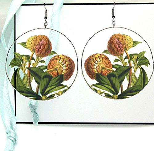 (Evergreen Dogwood Flower Hoop Earrings, Organic Plant Reverse Photo Resin Image Print, Silver X Large with Ear Wires)