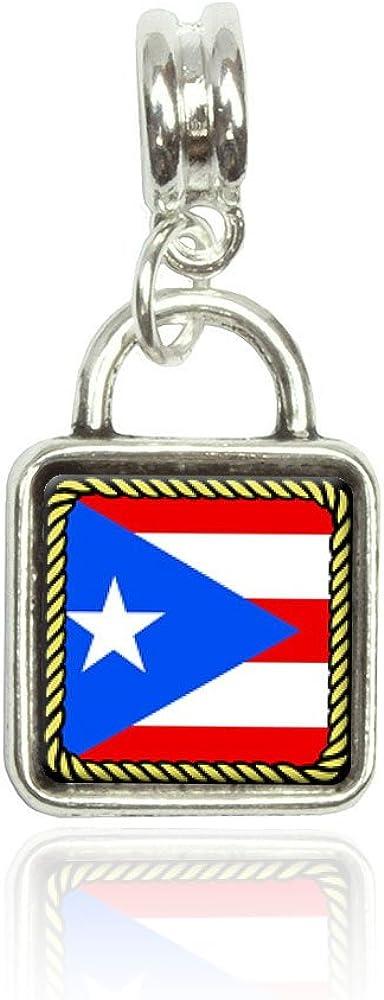Made on Terra Flag of Puerto Rico Euro European Italian Style Bracelet Bead Sqr Charm