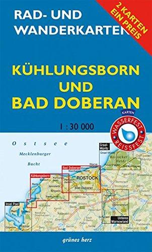 """Rad- und Wanderkarten-Set: Kühlungsborn und Bad Doberan: Mit den Karten: """"Rerik, Kühlungsborn"""" und """"Bad Doberan, Warnemünde"""". Maßstab 1:30.000. Wasser- und reißfeste Karten."""