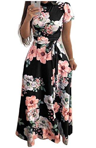 Zimaes-Mujer Floral Impresión Turtleneck Cinturón Vogue Flor Fiesta Maxi  Vestido ee111e394682