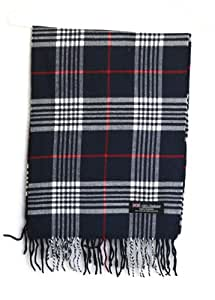 Plaid Tartan Scotland Muffler Women's Man's Cashmere Scarf - Navy Blue