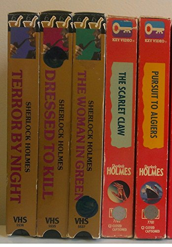 5 Volume Set of Sherlock Holmes: Terror By Night; Dressed To Kill; The Woman in Green; The Scarlet Claw; Pursuit to Algiers