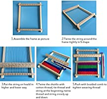Weaving Loom Kit for Kids DIY Weaves Craft Small Wooden Waving Loom Frame 6.5 by 7.5 Inches