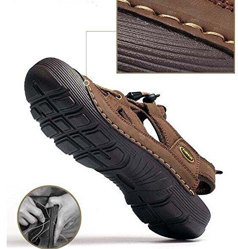 Onfly Hombres Chicos Dedo del pie cerrado Cuero Casual Sandalias Zapatillas Antideslizante Respirable Para caminar Al aire libre Sandalias Zapatos de agua Zapatillas de deporte ocasionales Playa Zapat deep brown