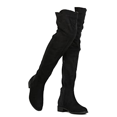 Women Thigh High Flat Boots Pull on Low Block Heel Over The Knee Boots by (TM) | Over-the-Knee