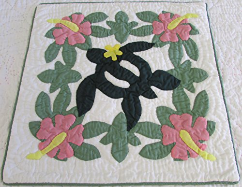(2 Hawaiian quilt throw pillow cover 16x16 100% hand quilted/100% hand appliqued)