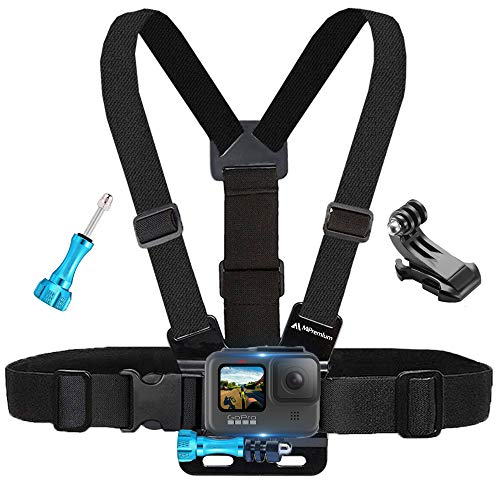 MiPremium Chest Mount Harness Compatible with GoPro Hero 9 8 7 6 5 4 3 3+ 2 Fusion Session Black Silver & AKASO EK7000 Sjcam Sports Cameras Adjustable Body Strap Jhook & Aluminum Thumbscrew Accessory