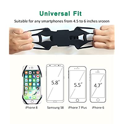 Universal Silicone Bike Phone Mount for Motorcycle - Bike Handlebars,Adjustable,Fits iPhone X, iPhone 8 | 8 Plus,Galaxy S9, S8, S7,Cell Phone Smartphone Holder (Black)
