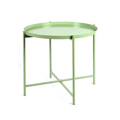 LYLian-Table Hogar Hierro Forjado Plegable pequeña Mesa de ...