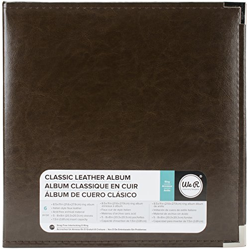 8.5 x 11-inch Classic Leather 3-Ring Album by We R Memory Keepers | Dark Chocolate, includes 5 page protectors
