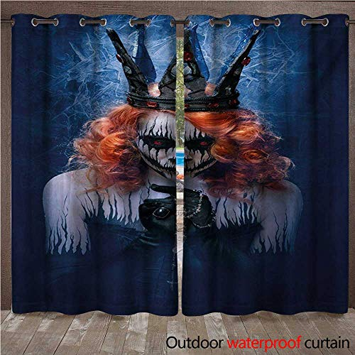 WilliamsDecor Queen Outdoor Ultraviolet Protective Curtains Queen of Death Scary Body Art Halloween Evil Face Bizarre Make Up Zombie W84 x L108(214cm x 274cm) ()