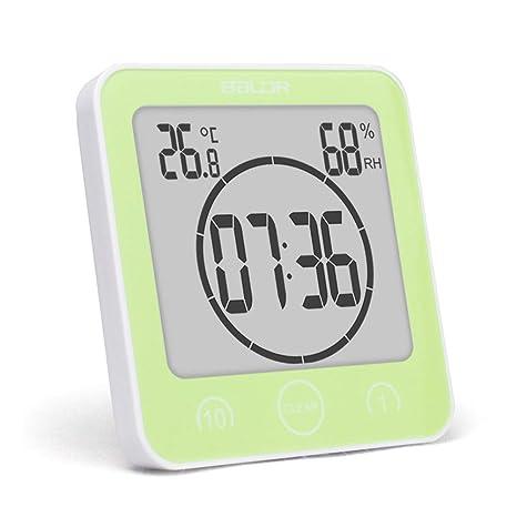 Mallalah - Reloj de baño con temporizadores Impermeables y Gran Pantalla LCD Digital, termómetro,