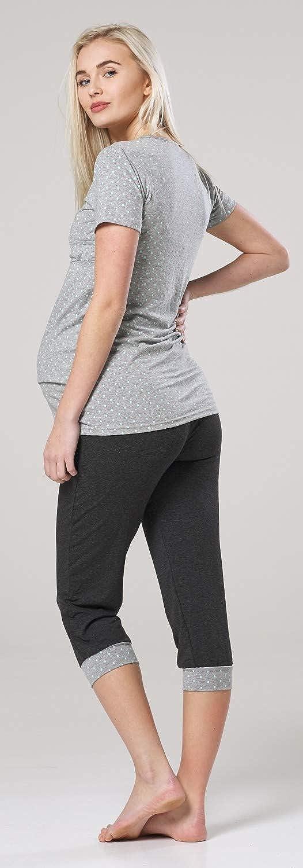 HAPPY MAMA Femme Maternit/é Allaitement Pyjama Pantalons Top V/êtement Nuit 088p