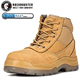 ROCKROOSTER Men's Work Boots, Women's Hiking Boot, Safety Shoes AK050 Wheat, US (M9, F10.5)