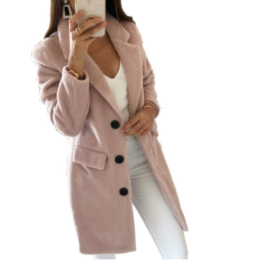 samifa Women Woolen Coat Autumn Winter Solid Color Mid-Length Double-Breasted Outerwear Wool /& Blends