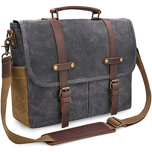 - Mens Messenger Bag 15.6 Inch Waterproof Vintage Genuine Leather Waxed Canvas Briefcase Large Satchel Shoulder Bag Rugged Leather Computer Laptop Bag, Grey