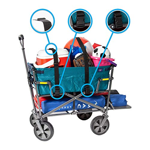Mac Sports Double Decker Collapsible Outdoor Utility Wagon with Straps | Folding Pull Cart, for Sports Baseball Pool Camping Fishing, Collapsable Fold up Wagon with Wheels, Heavy Duty Steel, Teal by Mac Sports (Image #1)