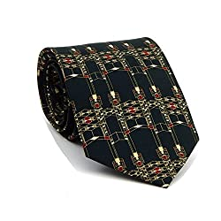 Boxelder Men's Silk Tie - Frank Lloyd Wright Robie House Gate - Deep Green