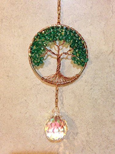 - Crystal Sun Catcher Tree of Life Window Ornament with 30mm Crystal Ball Prism, Jade Crystal Handmade Window Ornament, Feng Shui Healing Crystal Gemstone Wire Tree Suncatcher