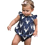 Emmahe Newborn Baby Navy Blue Bodysuit Romper Jumpsuit Outfit Summer Sunsuit With Headband