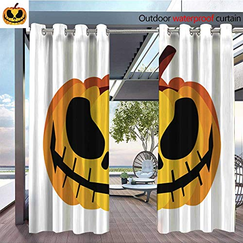 Exterior/Outside Curtains Isolated Vector Yellow Orange Festive Scary Halloween Pumpkin Icon for Patio Light Block Heat Out Water Proof Drape W96 x L96/Pair