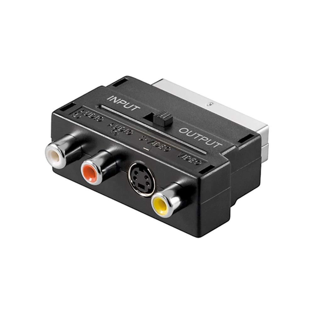 Scart Negro/ 21-pin /Euroconector  3/x conectores RCA 4/pines Mini DIN hembra de Conector Adaptador de euroconector