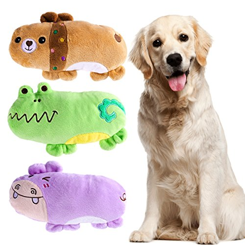 UEETEK Pack of 3 Squeaky Dog Toys for Dogs puppy, Hippo Bear and Frog Pattern Plush Dog Squeak Toys