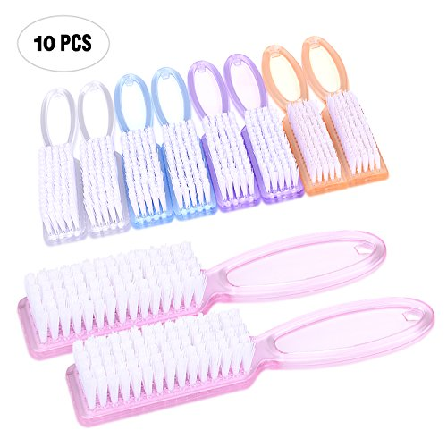 Yesker Handle Fingernail Scrub Cleaning Brushes for Toes and Nails Cleaner, 10PCS, Multicolor