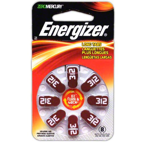 - Pack of 6 Energizer EZ Turn & Lock Hearing Aid Batteries Size: 312