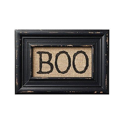 [BOO! Printed Burlap Framed Wall Decor - Halloween] (Wood Boo Sign)