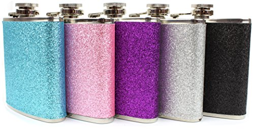 Stainless-Steel-With-Colorful-Glitter-Hip-Flask-Stores-6-Ounces-Silver