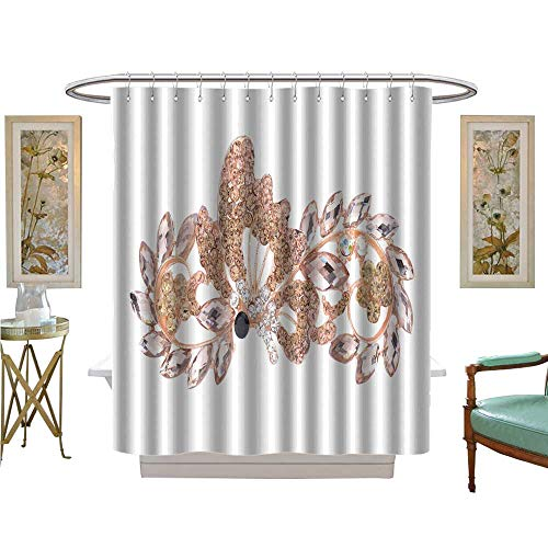 luvoluxhome Shower Curtain Customized Brooch with Butterfly and Flowers Isolated on White Fabric Bathroom Decor Set with Hooks W69 x L70