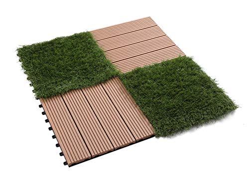 GOLDEN MOON Deck Tiles Interlocking Wood-Plastic Composites Patio Pavers 1x1FT 10 Pack Brown by GOLDEN MOON (Image #2)