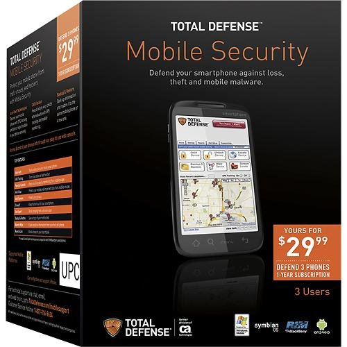 Total Defense Mobile Phone Security Software, 3 Devices, 1 Year Subscription (Mobile Total Call)